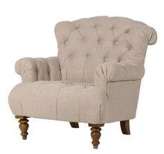 Linen Lounge Chair Button Back