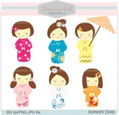 Digital ClipArt, bambole Kokeshi, ClipArt carino bambola giapponese, INSTANT DOWNLOAD on Etsy, 3,33€