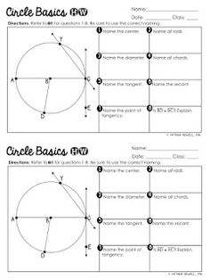 Circle Basics Unit Instructions and Worksheet. Free foldables on Circle Basics, Circumference and Area, Area of Shaded Regions and Tangent Lines. Also there are free graphic organizers. Read how this teacher taught her students a unit about circles. Teacher Blogs, Math Teacher, Math Classroom, Teacher Stuff, Geometry Worksheets, Geometry Activities, Geometry Lessons, Math Activities, Teaching Geometry