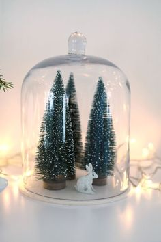 Christmas Cloche Bunny and Bottle Brush Trees