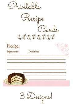 Family, Home, Health: Free Printable Recipe Cards with a Pink Theme!
