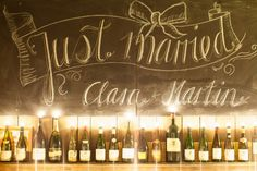 """Incorporate your """"Just Married"""" declaration into your decor with a chalkboard sign."""