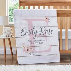 Send Elegant Baby Name Blanket and other personalized gifts at Personal Creations. Wood Wall Nursery, Pretty Kids, Spoil Yourself, Host A Party, Leaf Design, Little Princess, Baby Gifts, Personalized Gifts, Congratulations