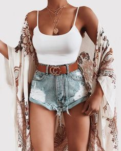 Cute outfit via Top: Lyric Cami Top Shorts: Cove Cuffed Shorts Kimono: Opal Kimono Belt: CC Belt Necklace: Gold Coin Necklace Glamouröse Outfits, Cute Casual Outfits, Cute Summer Outfits, Short Outfits, Stylish Outfits, Fashion Outfits, Fashion Trends, Casual Clothes, Sneakers Fashion