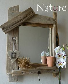 A mirror . Rustic Furniture, Living Room Furniture, Diy Mirror Decor, Hand Carved Walking Sticks, Driftwood Mirror, Driftwood Projects, Wall Ornaments, Furniture Assembly, Wood Wall Art