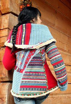 Warm and fine recycled sweater jacket boho fol style.