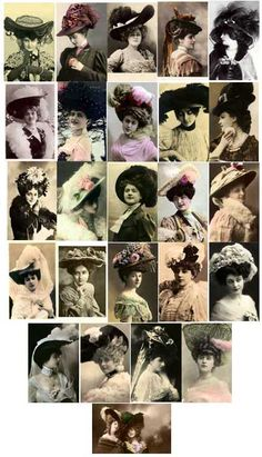 Vintage Images of 1900-1909 Hat Fashions from E-vint.com Everything Vintage Copyright, Royalty Free