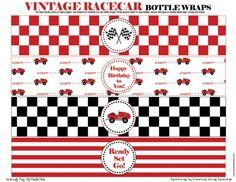 Vintage Racecar Bottle Wrappers - DIY Printable Parties