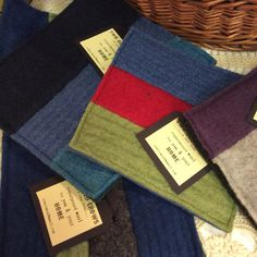 Wool hot pads, handmade from recycled felted woolen sweaters!