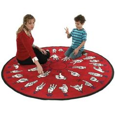 Educational sign language floor rug. $258.99 at Harris Comm.