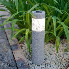 Warm White LED Solar Bollard Garden Path Light