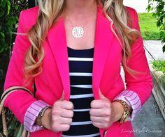 Stripes and pink blazer