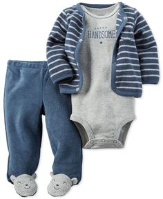 Cute animal characters charm the feet of footed pants in this soft and comfy three-piece Carter's set for baby boy, which also includes a striped cardigan and snap-closure bodysuit. | Cotton/polyester