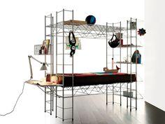 Steel bed by Rexite design Bruno Munari Nomadic Furniture, 70s Furniture, Steel Furniture, Furniture Design, Children Furniture, Steel Bed Design, Art Et Design, Mini Loft, Music Studio Room
