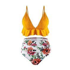 b3db946f9a Amazon.com  SS Queen Womens High Waisted Swimsuit Ruffle Print Bikini  Swimwear Two Pieces Bathing Suit  Clothing