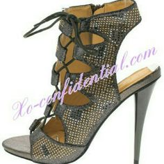 Carlah cut out booties (ask about additional sizes Watch jaws drop as you walk by in these dazzling heels!  Features a glitter rhinestone studded lace-up open toe upper?Tapered gold heel and zipper side closure  Man made materials.?  Approximate heel height 5 inches Shoes Ankle Boots & Booties