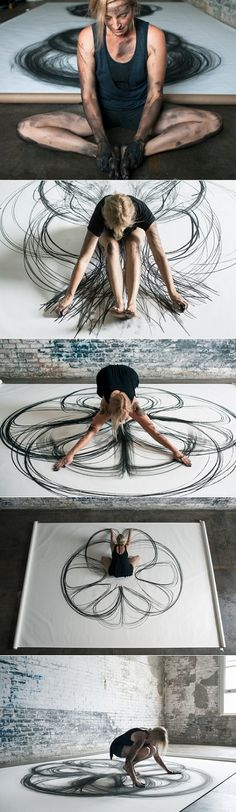 "Heather Hansen's ""extraordinary project called Emptying Gestures"" in which ""she experimented with kinetic drawing."" Try this in class.draw with your hands or your feet? Street Art, Wow Art, Art Plastique, Art Inspo, Amazing Art, Awesome, Art Projects, Art Therapy Projects, Art Drawings"