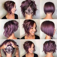 10 Trendy Stacked Hairstyles for Short Hair: Practicability Short Hair Cuts // # for - Short Bob Hair Styles Short Choppy Haircuts, Short Hair With Undercut, Nape Undercut, Bob Haircut With Undercut, Shaved Undercut, Pixie Haircuts, Choppy Hairstyles, Haircut Bob, Undercut Ponytail