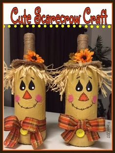 Lets Make Scarecrow With Old Wine Bottles