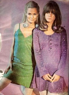 60's party girls..From Mademoiselle, November 1966. Model in green is Lauren Hutton... I totally want that purple dress!