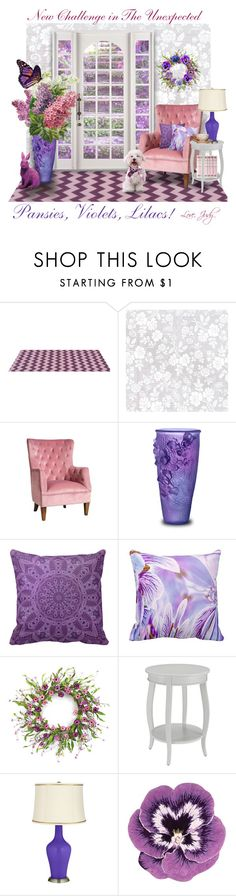 """""""CONTEST SAMPLE: Pansies, Violets, Lilacs!"""" by judymjohnson ❤ liked on Polyvore featuring interior, interiors, interior design, home, home decor, interior decorating, Sasson Home, Daum, Home Decorators Collection and Nourison"""