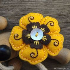 Brooch is made out of felt with added wooden links and embroidery. Equipped with safety pin Felt Embroidery, Felt Applique, Hand Embroidery Designs, Applique Designs, Fabric Brooch, Felt Brooch, Felt Diy, Felt Crafts, Felt Flowers