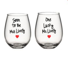 Mr and Soon To be Mrs. Wine Glass Set , His and Her  Glasses , Personalized Glasses, Engagement Gift Set by SiplySophisticated on Etsy