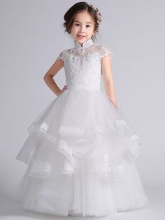 Exquisite Embroidery Stand Collar Short Collar Mesh Full Dress Gowns For Girls, Baby Girl Dresses, Girl Outfits, Flower Girl Dresses, Baby Girl Fashion, Kids Fashion, Dress Anak, First Communion Dresses, Kids Frocks