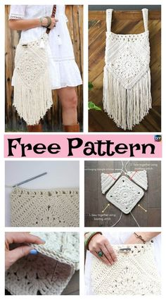 Boho Tassel Crochet Bag – Free Pattern - Diy 4 Ever - Page 3 of 31 - Free Crochet Patterns Crochet Diy, Turban Crochet, Beau Crochet, Diy Crochet Patterns, Sewing Patterns Free, All Free Crochet, Crochet Handbags, Crochet Purses, Crochet Bags