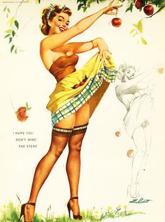 Vintage Pin-Up Girl Illustration by Freeman Elliot c. 1950's