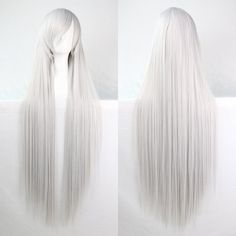 Charming 100CM Long Glossy Straight Side Bang Harajuku Anime Synthetic Cosplay Wig For Women featuring polyvore, women's fashion, clothing, costumes, animal halloween costumes, ladies costumes, role play costumes, womens snow white halloween costume and lady costumes