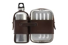 Manly lunchbox - just a leather strap around the shiny bins