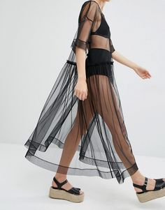 Image 3 of Monki Sheer Mesh Dress
