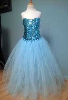 Disney Frozen Elsa Handmade Tutu Fancy Dress, Dress Up Costume, Floor Length Dress with Snowflake Cape