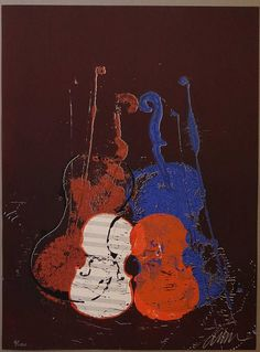 Arman signed screen printing Violins Concerto Symphony Sign Printing, Screen Printing, Cool Artwork, Amazing Artwork, Alcohol Ink Painting, Music Gifts, Vintage Music, French Artists, Large Wall Art