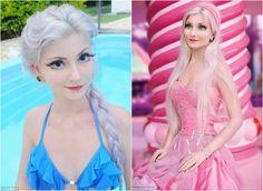 A jovem brasileira Andressa Damiani, de 23 anos, não só gosta da Barbie como faz questão de ter uma aparência semelhante à da boneca.