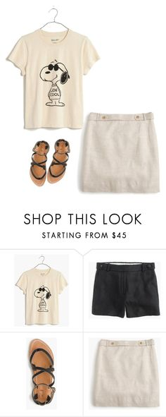 """""""Madewell Snoopy Joe Cool Tee JCrew Linen Mini"""" by justvisiting ❤ liked on Polyvore featuring Madewell and J.Crew"""