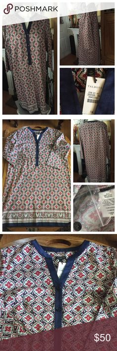 """NWT TALBOTS Dress ~ Size 14 Beautiful NWT caftan-like dress in a regal burgundy, navy blue, khaki and white pattern. Neckline has navy blue banding and 3 front buttons (extra button included); 3/4 Sleeves (18""""). 98% cotton; 2% spandex. Measured flat: 22-23"""" under arms across bust and down; 24"""" across bottom; 38"""" from shoulder to bottom hem. Smoke-free home. Talbots Dresses"""