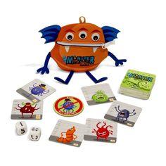 Fordítsatok fel 10 szörny kártyát, dobjatok a kockákkal, majd kapjátok el a kockáknak megfelelő szörnyet! Ki talál hamarabb három szemű, két lábú, vagy éppen négy karú rémséget? A szörnykártyákon fánkok láthatók, egy szörny elkapásával ennyi fánkot mentünk meg a bekebelezéstől. Aki a legtöbb fánkot menti meg, az a győztes! Jól fejleszti a gyerekek megfigyelő készségét, és segít az 1-től 5-ig számolás begyakorlásában.