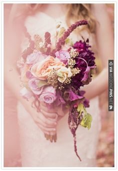 Lavender, peach and plum bouquet