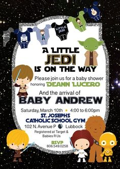 Star Wars Baby Shower Invitations Best Of Star Wars Inspired Baby Shower Invitation High Resolution Digital File Star Wars Baby, Star Wars Girls, Baby Shower Themes, Baby Boy Shower, Baby Shower Decorations, Baby Shower Gifts, Shower Ideas, Star Wars Kindergarten, Baby Shower Invitations
