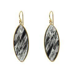 18k Gold Plated Silver Marquee Rutilated Quartz Hook Earrings