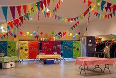school carnival decorations - love the colorful flag garlands- church basement idea School Carnival Games, Carnival Booths, Carnival Decorations, Spring Carnival, Kids Carnival, Carnival Themed Party, Carnival Birthday Parties, Carnival Themes, Halloween Carnival