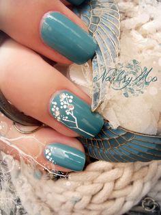 #Aqua #Floral nails nailart- delicate design