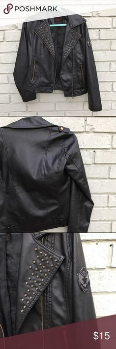 """Black """"Leather"""" Studded Jacket New York Yoki Outerwear Collection Current Sale: Buy any item in my closet and receive a special marked item as part of a bundle deal! Jackets & Coats"""