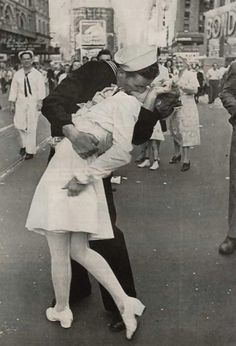"V-J Day:     ""Sailors Kiss"" Photo by Alfred Eisenstaedt.  August 14, 1945.  Approximately seven men and three women have claimed to be the subjects, however there has been no true confirmation to their claims."