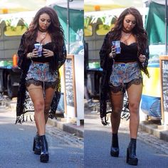Jesy is NOT fat!! It's just her body build that makes her look muscular.