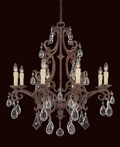 View the Savoy House 1-1401-8 Wrought Iron Eight Light Up Lighting Chandelier from the Forged Iron Collection at LightingDirect.com.
