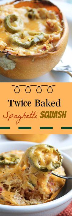 Twice Baked Spicy Spaghetti Squash Spicy Spaghetti, Spaghetti Squash Recipes, Low Carb Recipes, Cooking Recipes, Healthy Recipes, Cooking Ideas, Whole30, Casserole Spaghetti, Healthy Comfort Food