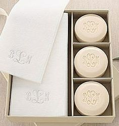 Personalized Guest Soaps and Towel Set